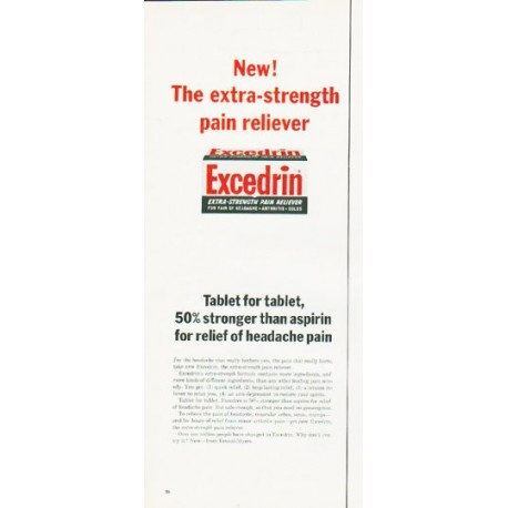 """1964 Excedrin Ad """"Tablet for tablet"""""""