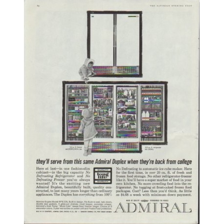 "1961 Admiral Refrigerator Ad ""back from college"""
