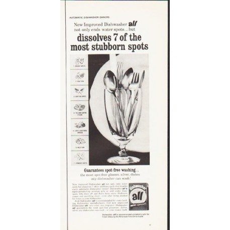 "1964 all Dishwasher Soap Ad ""the most stubborn spots"""