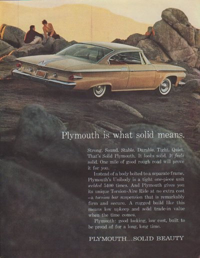 1961 Plymouth Ad Quot Plymouth Is What Solid Means Quot