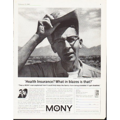 """1963 Mutual Of New York Ad """"What in blazes"""""""