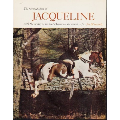 """1963 Jacqueline Kennedy Article """"The favored sport of Jacqueline"""""""