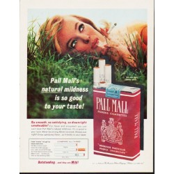 "1963 Pall Mall Cigarettes Ad ""natural mildness"""