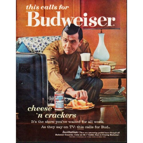 "1963 Budweiser Ad ""cheese 'n crackers"""