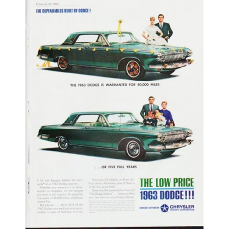 "1963 Dodge Ad ""five full years"" ... (model year 1963)"