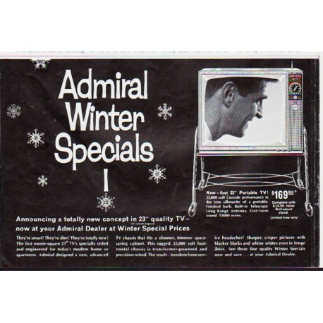 "1963 Admiral Television Ad ""Winter Specials"""