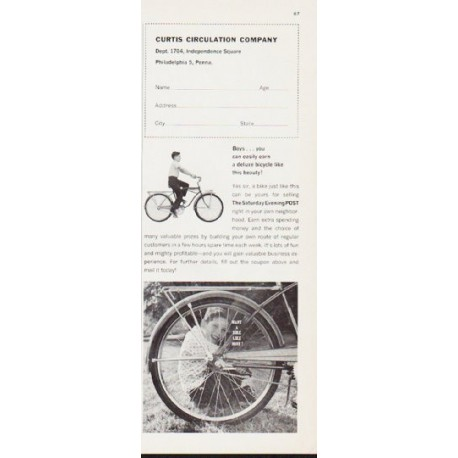 """1963 Curtis Circulation Company Ad """"deluxe bicycle"""""""