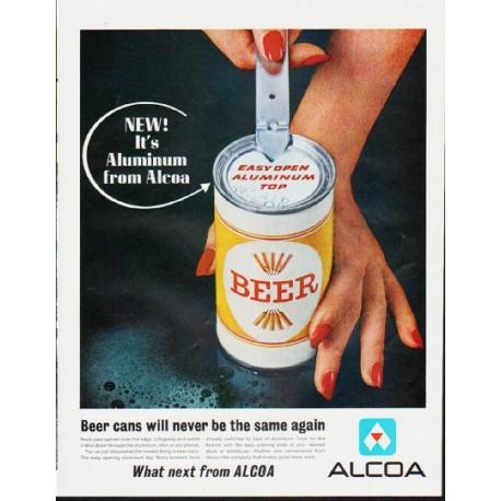 "1963 Alcoa Aluminum Ad ""Beer cans"""
