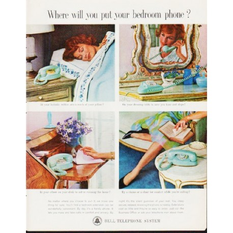 """1963 Bell Telephone System Ad """"bedroom phone"""""""