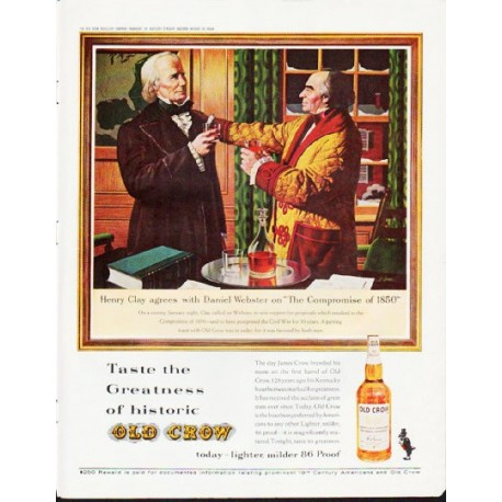 """1963 Old Crow Bourbon Whiskey Ad """"Henry Clay"""""""