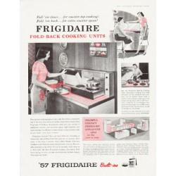 "1957 Frigidaire Ad ""Pull 'em down"""