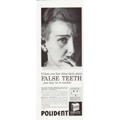 "1957 Polident Ad ""False Teeth"""