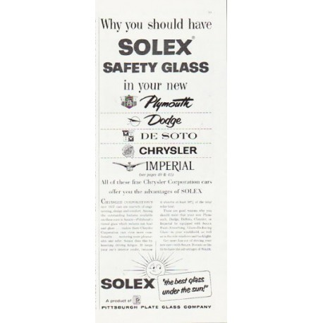 """1957 Solex Safety Glass Ad """"Why you should have Solex"""""""