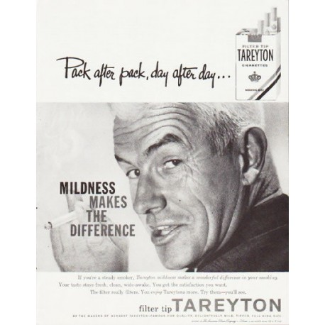 """1957 Tareyton Cigarettes Ad """"Pack after pack"""""""