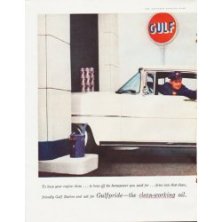 "1957 Gulfpride Motor Oil Ad ""To keep your engine clean"""