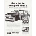"""1957 GMC Trucks Ad """"giant killer"""" ... (model year 1957)"""