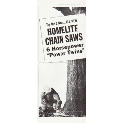 "1957 Homelite Chain Saw Ad ""Power Twins"""