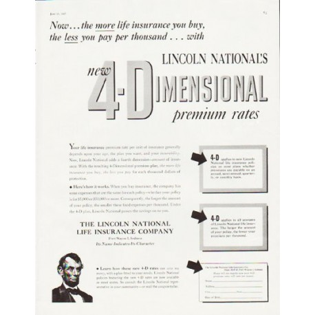 "1957 Lincoln National Life Insurance Ad ""4-Dimensional"""