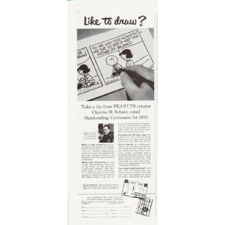"1957 Art Instruction Ad ""Like to draw?"""