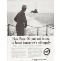 """1957 Pure Oil Ad """"out to sea"""""""