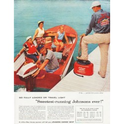 "1957 Johnson Outboard Engine Ad ""Go Fully Loaded"""