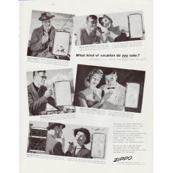 "1957 Zippo Ad ""What kind of vacation"""