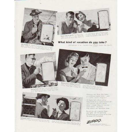 """1957 Zippo Ad """"What kind of vacation"""""""