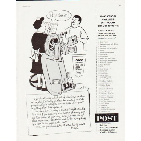 """1957 The Saturday Evening Post Ad """"That does it"""""""