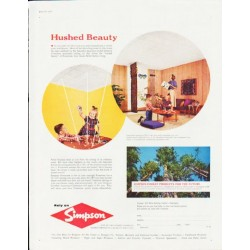 "1957 Simpson Forest Products Ad ""Hushed Beauty"""