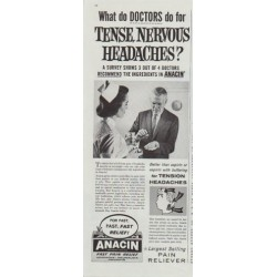 "1961 Anacin Ad ""What do Doctors do for Tense, Nervous Headaches?"""