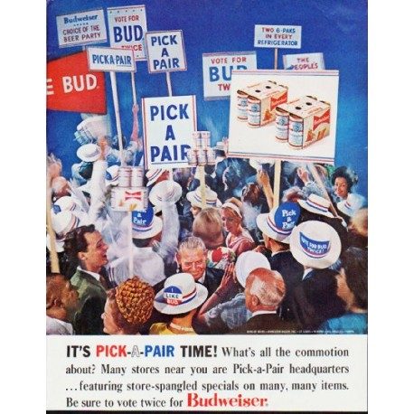 "1964 Budweiser Ad ""It's Pick-A-Pair Time!"""