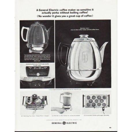 "1964 General Electric Ad ""coffee maker so sensitive"""