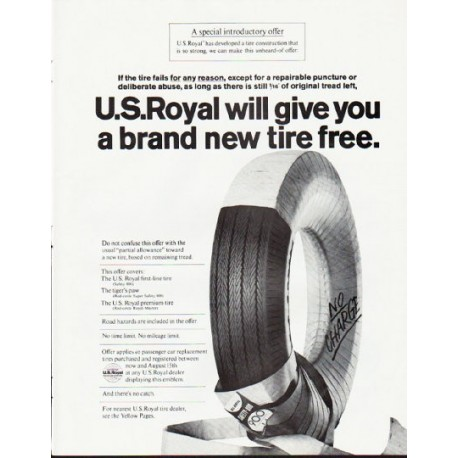 "1964 U.S. Royal Tires Ad ""a brand new tire"""