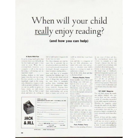 "1964 Jack and Jill Magazine Ad ""your child"""