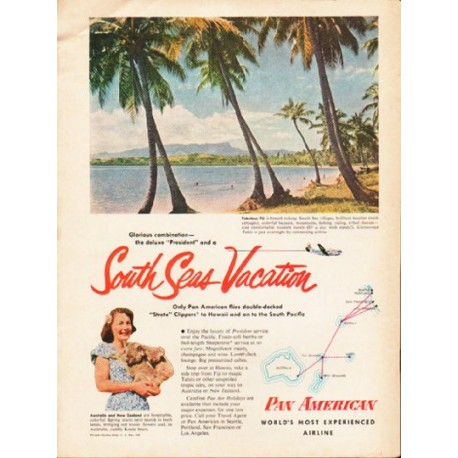 "1953 Pan American Airline Ad ""South Seas Vacation"""