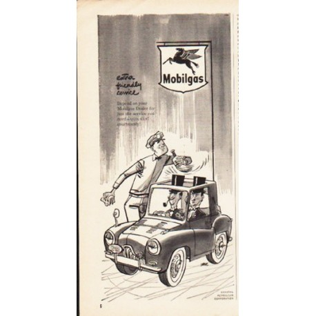 "1953 Mobilgas Ad ""extra friendly service"""