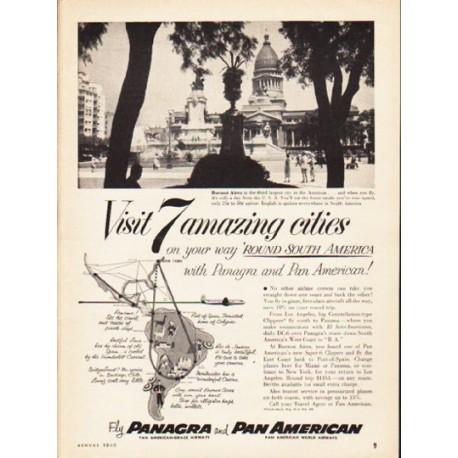 "1953 Panagra Airways Ad ""7 amazing cities"""