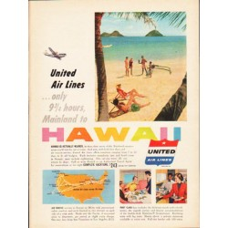 "1953 United Air Lines Ad ""Mainland to Hawaii"""