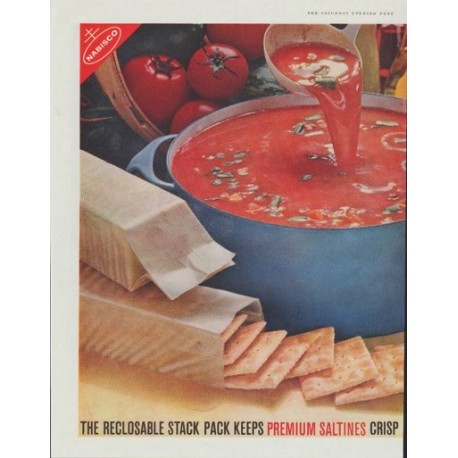 "1961 Nabisco Premium Saltine Crackers Ad ""The Reclosable Stack Pack"""