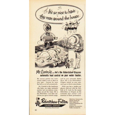"1953 Robertshaw-Fulton Ad ""this man around the house"""