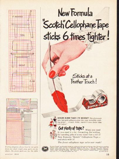 1953 Scotch Tape Vintage Ad Quot New Formula Quot