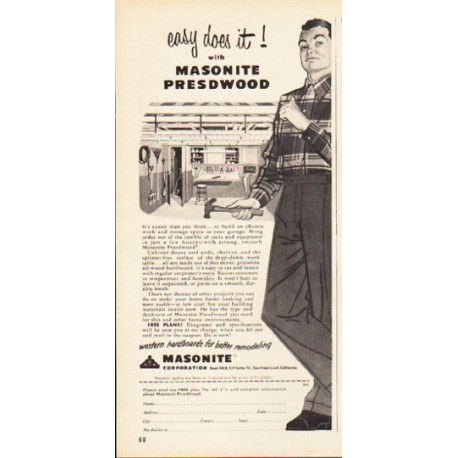 "1953 Masonite Ad ""easy does it"""