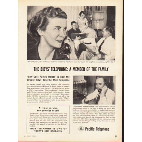 "1953 Pacific Telephone Ad ""The Biby's Telephone"""