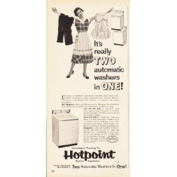"1953 Hotpoint Ad ""two automatic washers in one"""
