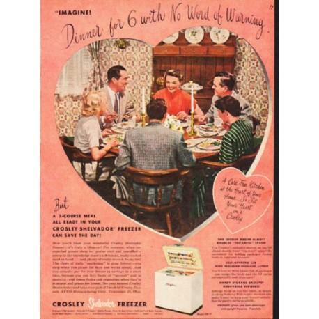 """1953 Crosley Freezer Ad """"Dinner for 6"""""""