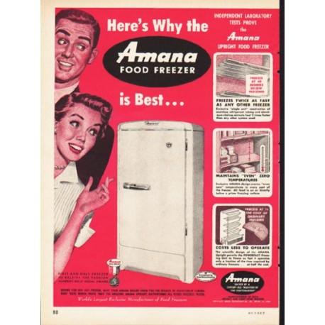 "1953 Amana Freezer Ad ""Here's Why"""