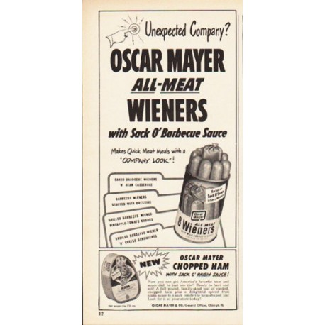 "1953 Oscar Mayer Ad ""Unexpected Company"""
