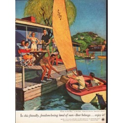 """1953 United States Brewers Foundation Ad """"Picnic on the Bay"""""""