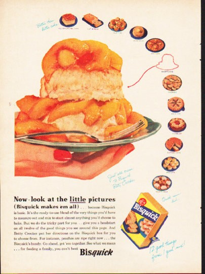 "Quick Ads For Beauty Product Blusher Oneminutebriefs: 1953 Bisquick Vintage Ad ""little Pictures"""