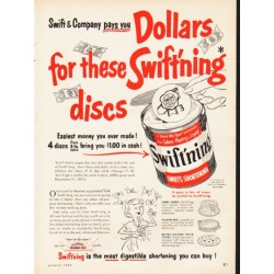 "1953 Swift's Shortening Ad ""Swift'ning discs"""